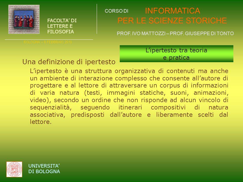 INFORMATICA PER LE SCIENZE STORICHE PROF.IVO MATTOZZI – PROF.