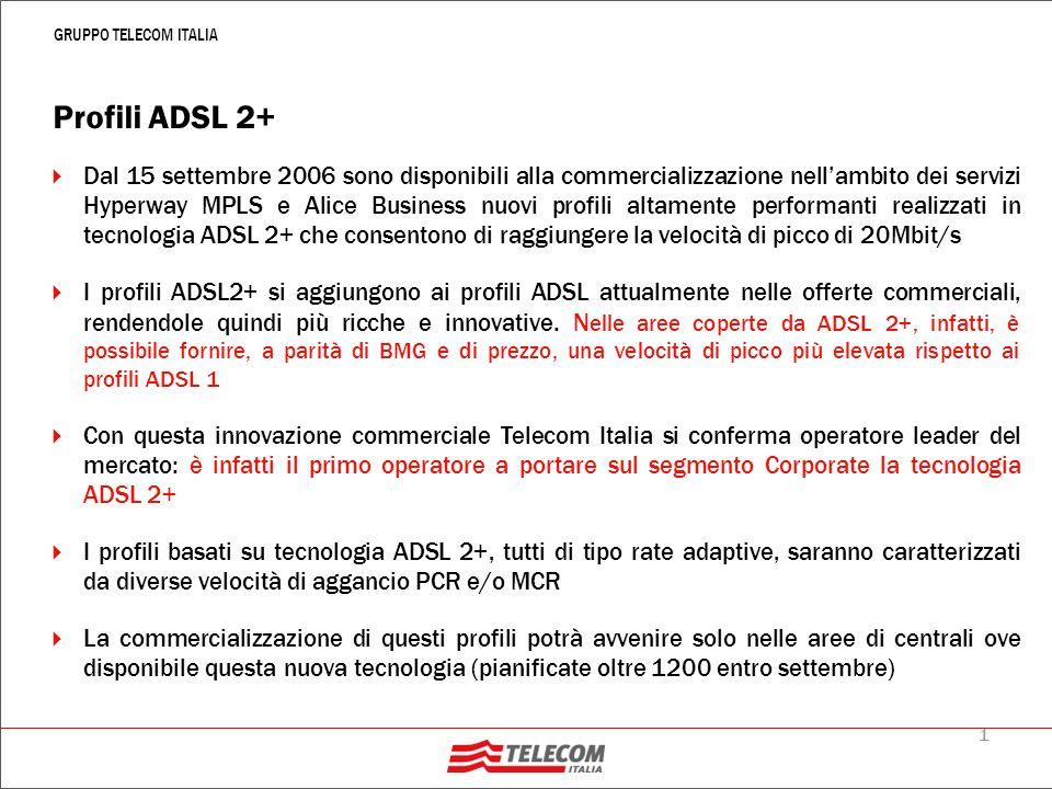 2 GRUPPO TELECOM ITALIA ADSL2+: velocità di navigazione e copertura Essendo Rate Adaptive leffettiva Velocità di Navigazione coincide con la velocità a cui riesce ad agganciarsi il doppino e dipende dalle caratteristiche del doppino (tipologia doppino, lunghezza doppino ecc).