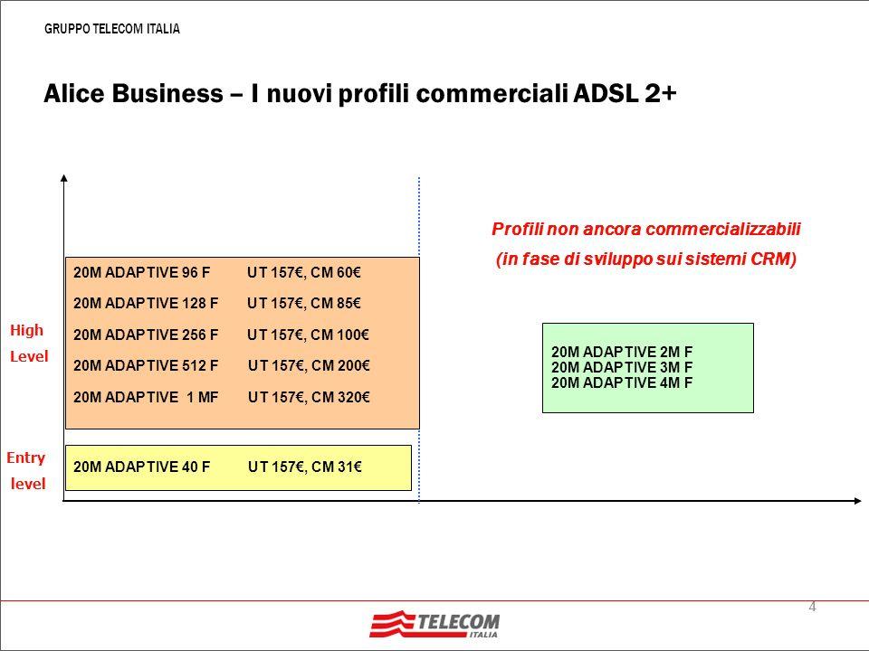 5 GRUPPO TELECOM ITALIA Alice Business: i profili ADSL 2+ Alice Business 20M Adaptive 40 F PCR Down 20M-768K PCR Up: 384K-256K Pricing UT 157, CM 31 MCR: 40K Down/40K Up Alice Business 20M Adaptive 96 F PCR Down 20M-4M PCR Up: 1M-512K Pricing: UT 157, CM 60 MCR: 96K Down/96K Up Alice Business 20M Adaptive 128 F PCR Down 20M-4M PCR Up: 1M-512K Pricing: UT 157, CM 85 MCR: 128K Down/128K Up Alice Business 20M Adaptive 256 F PCR Down 20M-4M PCR Up: 1M-512K Pricing: UT 157, CM 100 MCR: 256K Down/256K Up