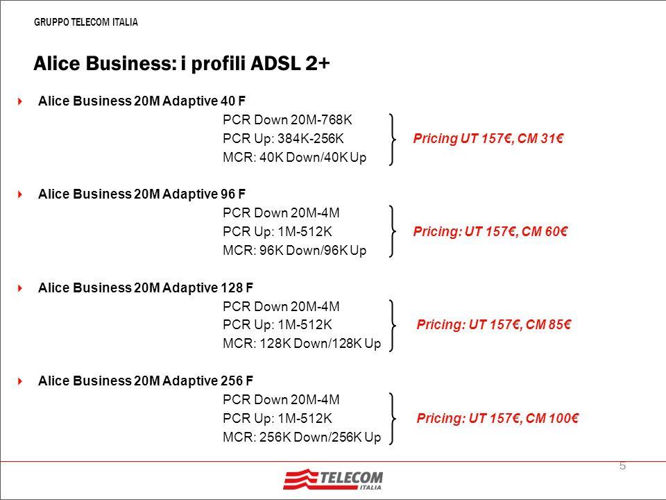 6 GRUPPO TELECOM ITALIA Alice Business: i profili ADSL 2+ Alice Business 20M Adaptive 512 F PCR Down 20M-4M PCR Up: 1M-512K Pricing UT 157, CM 200 MCR: 512K Down/512K Up Alice Business 20M Adaptive 1M F PCR Down 20M-4M PCR Up: 1M-512K Pricing: UT 157, CM 320 MCR: 1024K Down/512K Up