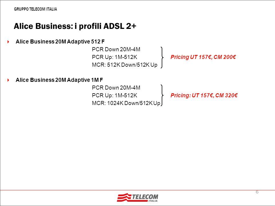 7 GRUPPO TELECOM ITALIA Alice Business: prestazioni opzionali di offerta I profili ADSL2+ potranno essere commercializzati sia nella modalità Classical IP che Virtual dial up con router autoinstallante Su tutti i profili è possibile offrire fino a 16 Indirizzi IP Pubblici statici, tramite la PNS è possibile richiedere anche IP Pubblici aggiuntivi I profili ADSL 2+ con BMG > 128 Kbps possono essere arricchiti con prestazioni a valore quali: Back Up ISDN del servizio Prestazioni Non Standard Tutti i profili ADSL 2+ possono essere commercializzati in modalità temporanea Per lattivazione degli ADSL 2+ valgono le stesse regole previste per i profili ADSL (linee di fonia del clienet, di terzi o linea solo dati dedicata al servizio)