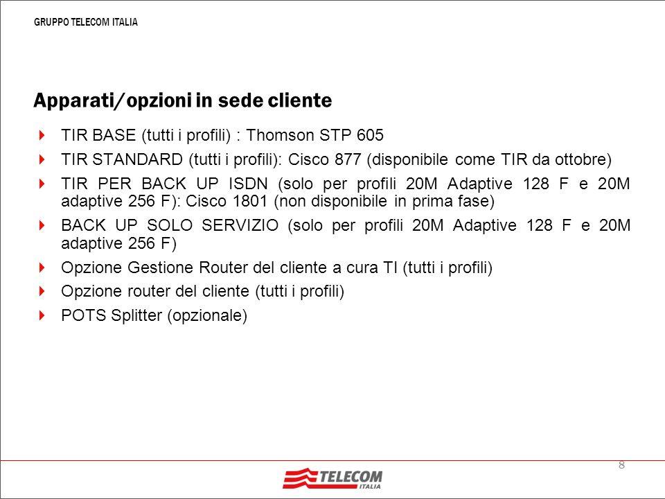 8 GRUPPO TELECOM ITALIA Apparati/opzioni in sede cliente TIR BASE (tutti i profili) : Thomson STP 605 TIR STANDARD (tutti i profili): Cisco 877 (disponibile come TIR da ottobre) TIR PER BACK UP ISDN (solo per profili 20M Adaptive 128 F e 20M adaptive 256 F): Cisco 1801 (non disponibile in prima fase) BACK UP SOLO SERVIZIO (solo per profili 20M Adaptive 128 F e 20M adaptive 256 F) Opzione Gestione Router del cliente a cura TI (tutti i profili) Opzione router del cliente (tutti i profili) POTS Splitter (opzionale)