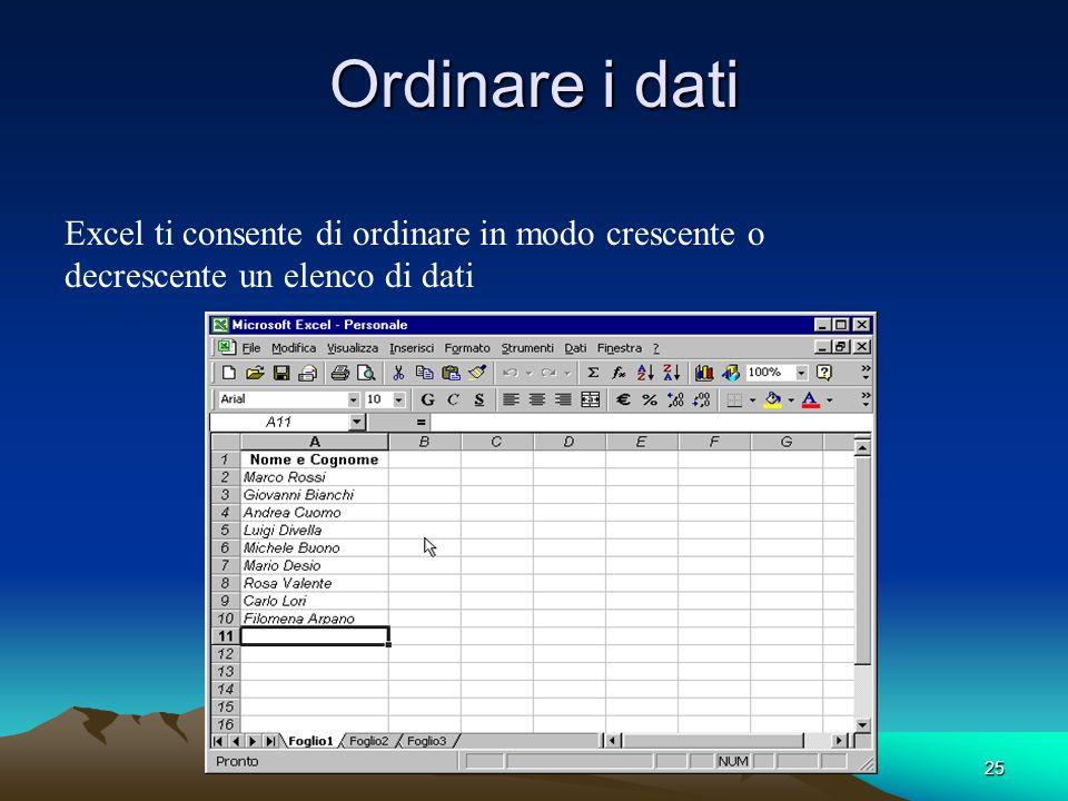 25 Ordinare i dati Excel ti consente di ordinare in modo crescente o decrescente un elenco di dati