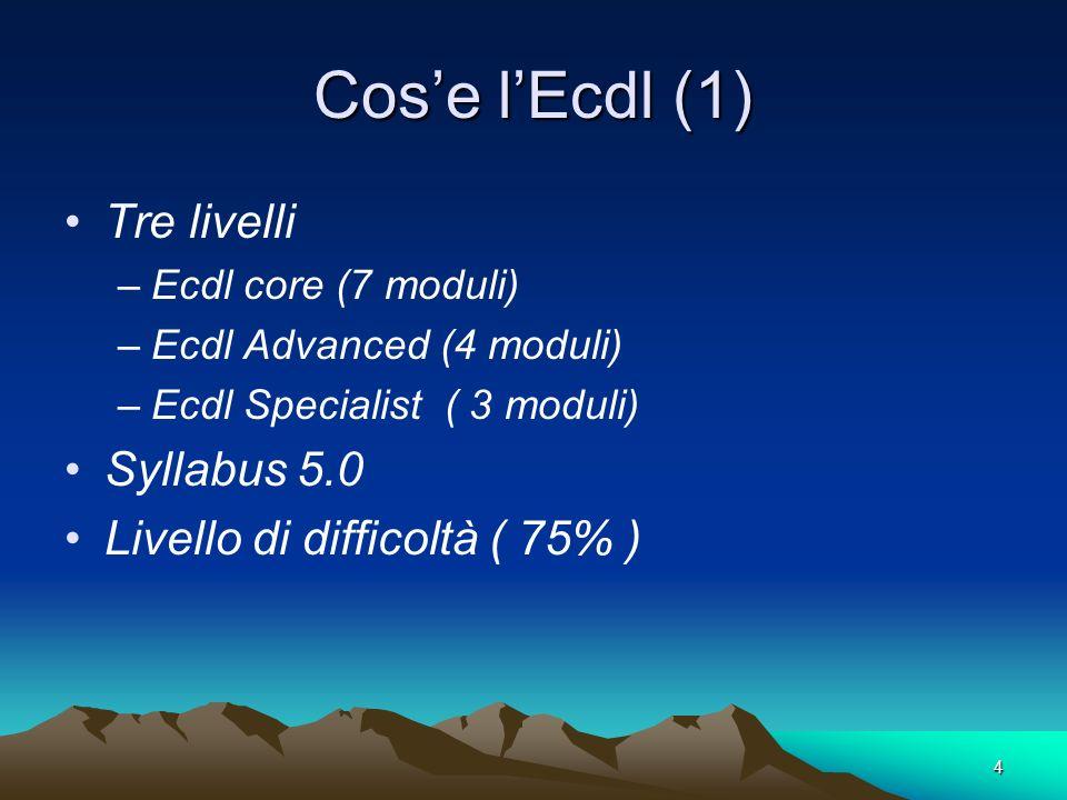 4 Cose lEcdl (1) Tre livelli –Ecdl core (7 moduli) –Ecdl Advanced (4 moduli) –Ecdl Specialist ( 3 moduli) Syllabus 5.0 Livello di difficoltà ( 75% )