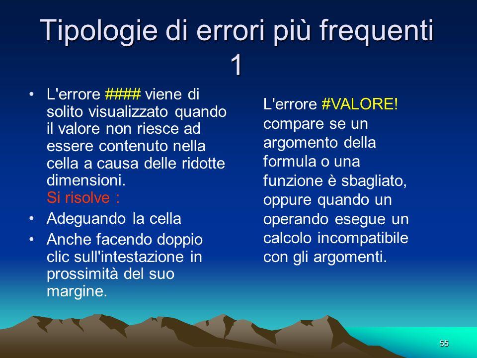 55 Tipologie di errori più frequenti 1 L errore #### viene di solito visualizzato quando il valore non riesce ad essere contenuto nella cella a causa delle ridotte dimensioni.