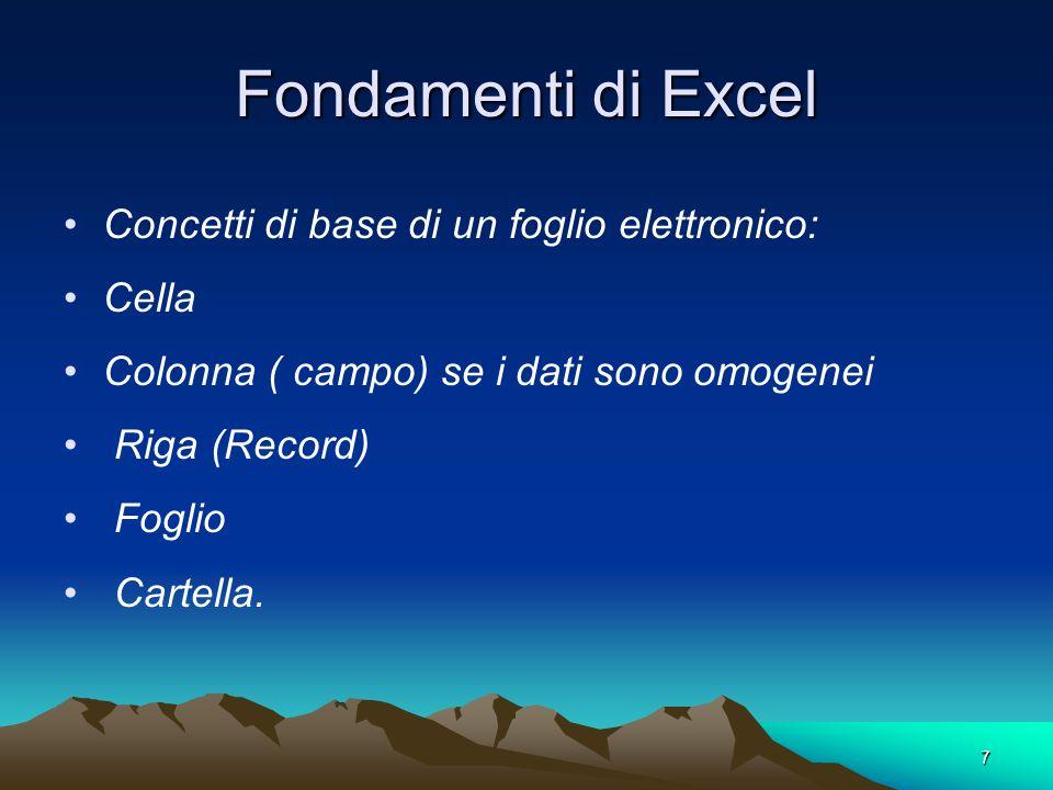 7 Fondamenti di Excel Concetti di base di un foglio elettronico: Cella Colonna ( campo) se i dati sono omogenei Riga (Record) Foglio Cartella.