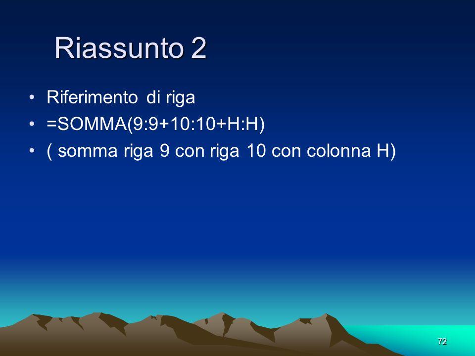 72 Riassunto 2 Riferimento di riga =SOMMA(9:9+10:10+H:H) ( somma riga 9 con riga 10 con colonna H)