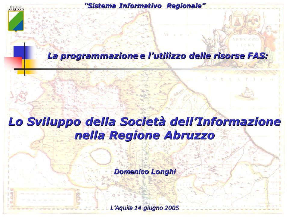Sistema Informativo Regionale Servizio per lInformazione Territoriale e la Telematica Sistema Informativo Regionale Servizio per lInformazione Territoriale e la Telematica Lo sviluppo della Società dellInformazione nella Regione Abruzzo – LAquila 14 Giugno 2005 42 Costi: Costo totale 1.200.000,00% Finanziamento fondi CNIPA ( 360.000) 500.000,0041,67% Finanziamento fondi Regione Abruzzo 300.000,0025,00% Finanziamento fondi DOCUP (aree ob.