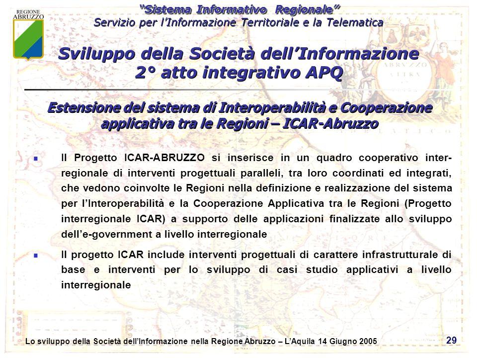 Sistema Informativo Regionale Servizio per lInformazione Territoriale e la Telematica Sistema Informativo Regionale Servizio per lInformazione Territoriale e la Telematica Lo sviluppo della Società dellInformazione nella Regione Abruzzo – LAquila 14 Giugno 2005 29 Il Progetto ICAR-ABRUZZO si inserisce in un quadro cooperativo inter- regionale di interventi progettuali paralleli, tra loro coordinati ed integrati, che vedono coinvolte le Regioni nella definizione e realizzazione del sistema per lInteroperabilità e la Cooperazione Applicativa tra le Regioni (Progetto interregionale ICAR) a supporto delle applicazioni finalizzate allo sviluppo delle-government a livello interregionale Il progetto ICAR include interventi progettuali di carattere infrastrutturale di base e interventi per lo sviluppo di casi studio applicativi a livello interregionale Sviluppo della Società dellInformazione 2° atto integrativo APQ Estensione del sistema di Interoperabilità e Cooperazione applicativa tra le Regioni – ICAR-Abruzzo
