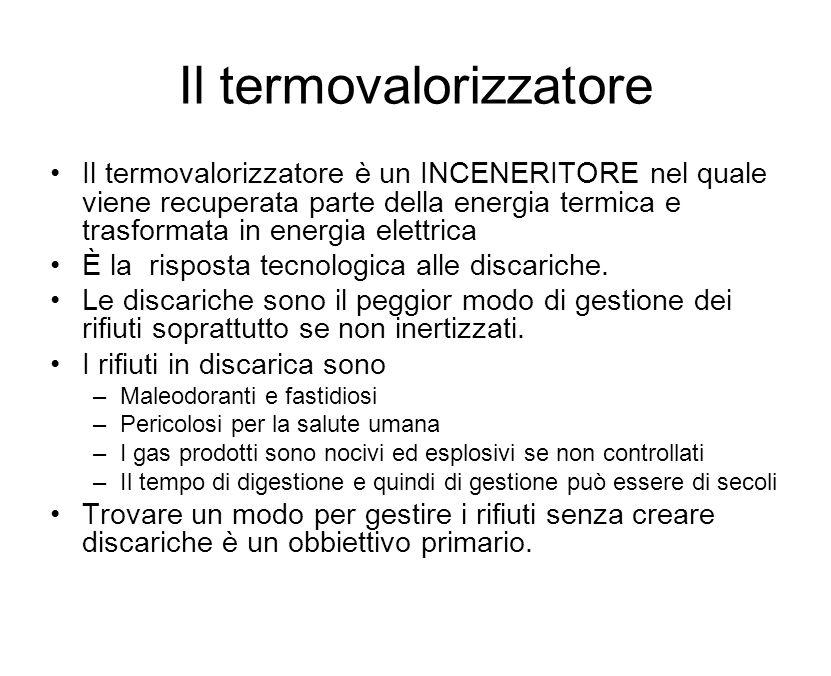 Il termovalorizzatore Il termovalorizzatore è un INCENERITORE nel quale viene recuperata parte della energia termica e trasformata in energia elettrica È la risposta tecnologica alle discariche.