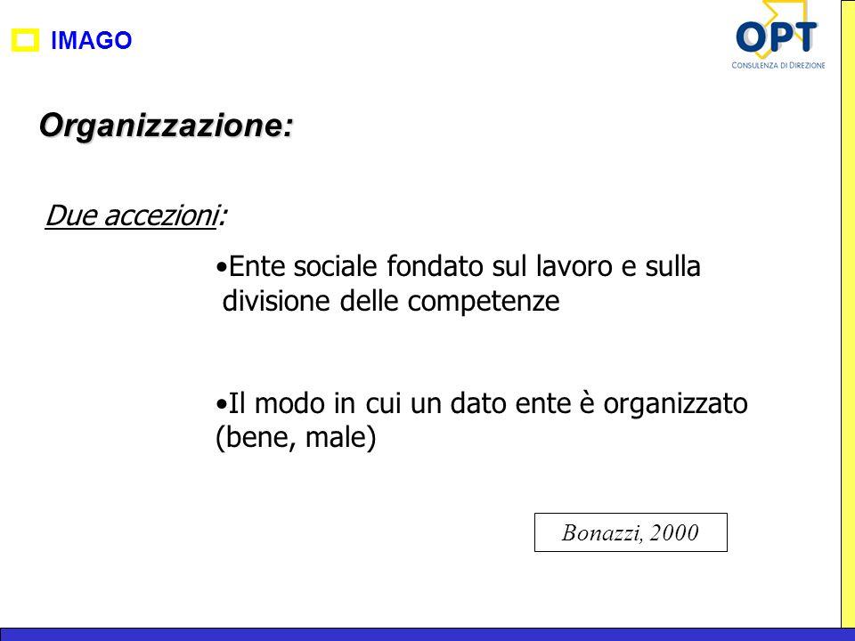 Organizzazione: Due accezioni: Ente sociale fondato sul lavoro e sulla divisione delle competenze Il modo in cui un dato ente è organizzato (bene, mal