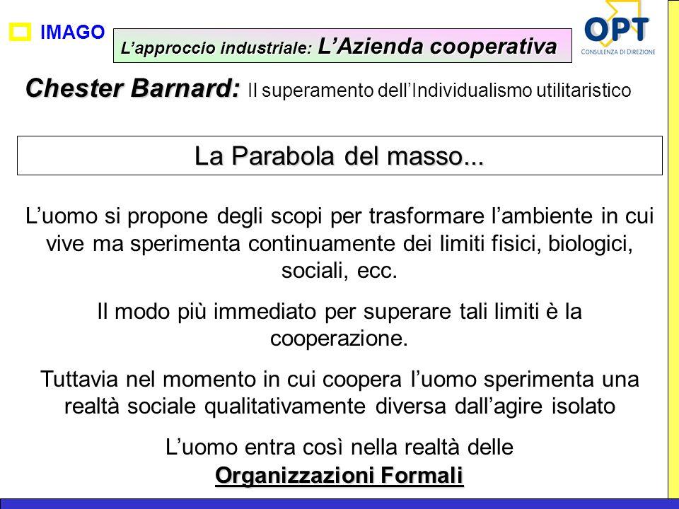 IMAGO Chester Barnard: Chester Barnard: Il superamento dellIndividualismo utilitaristico La Parabola del masso... Luomo si propone degli scopi per tra