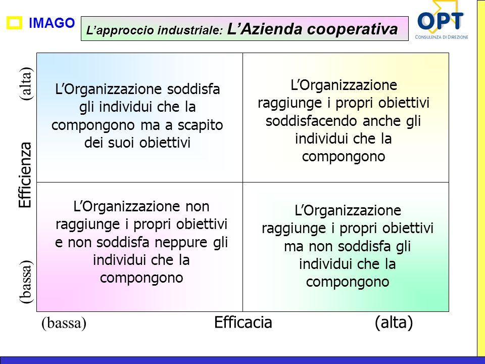 IMAGO (bassa) Efficacia(alta) (bassa) Efficienza (alta) LOrganizzazione non raggiunge i propri obiettivi e non soddisfa neppure gli individui che la c