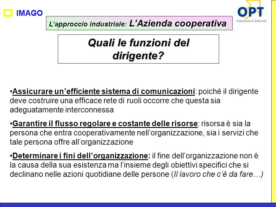 IMAGO Lapproccio industriale: LAzienda cooperativa Quali le funzioni del dirigente? Assicurare unefficiente sistema di comunicazioni: poiché il dirige