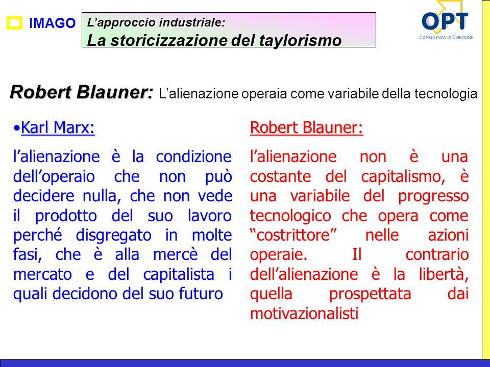 IMAGO Lapproccio industriale: La storicizzazione del taylorismo Robert Blauner: Robert Blauner: Lalienazione operaia come variabile della tecnologia K