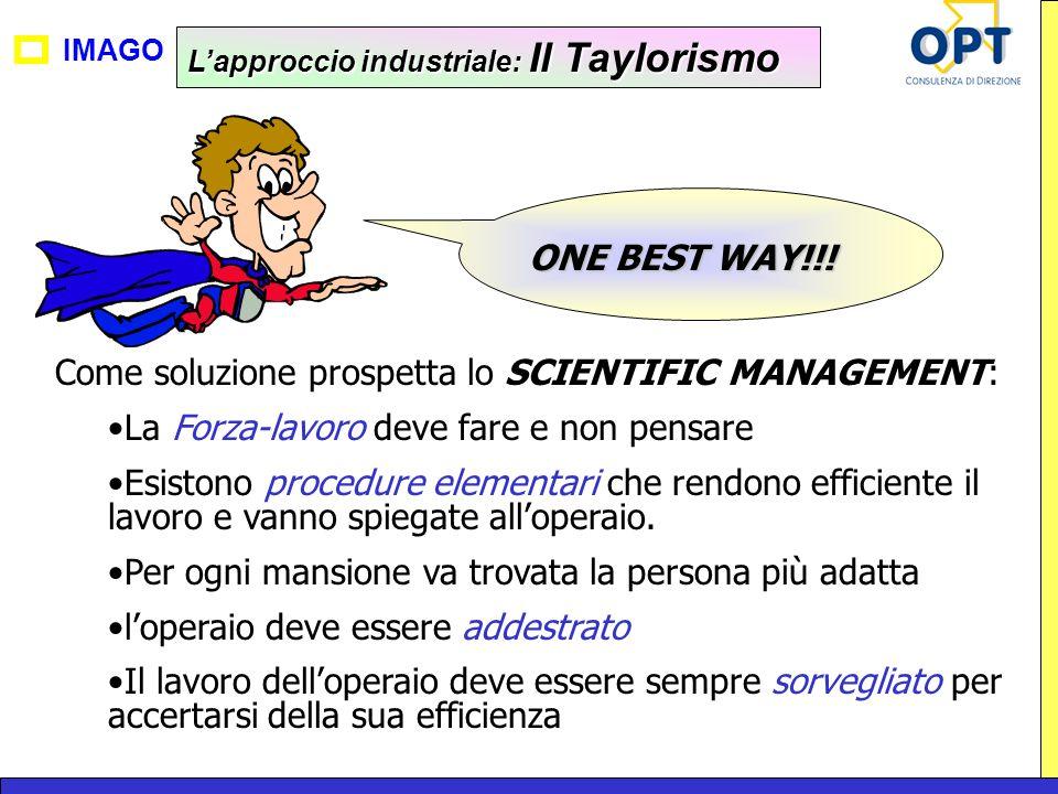 IMAGO Lapproccio industriale: Il Taylorismo Come soluzione prospetta lo SCIENTIFIC MANAGEMENT: La Forza-lavoro deve fare e non pensare Esistono proced