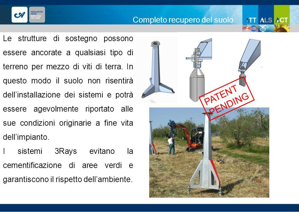 Completo recupero del suolo 21 PATENT PENDING Le strutture di sostegno possono essere ancorate a qualsiasi tipo di terreno per mezzo di viti di terra.