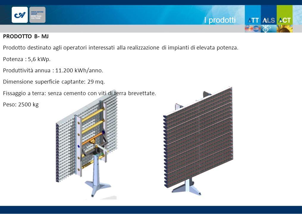 I prodotti PRODOTTO B- MJ Prodotto destinato agli operatori interessati alla realizzazione di impianti di elevata potenza. Potenza : 5,6 kWp. Produtti