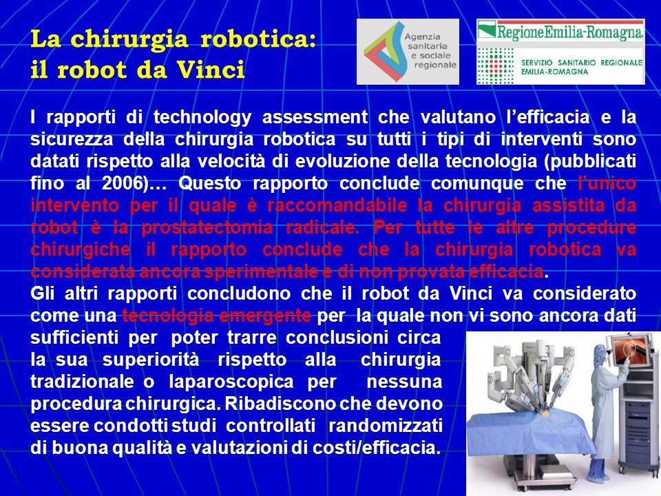 I rapporti di technology assessment che valutano lefficacia e la sicurezza della chirurgia robotica su tutti i tipi di interventi sono datati rispetto