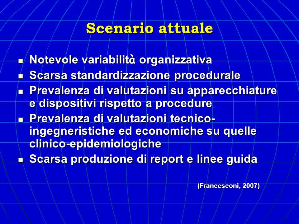 Scenario attuale Notevole variabilit à organizzativa Notevole variabilit à organizzativa Scarsa standardizzazione procedurale Scarsa standardizzazione