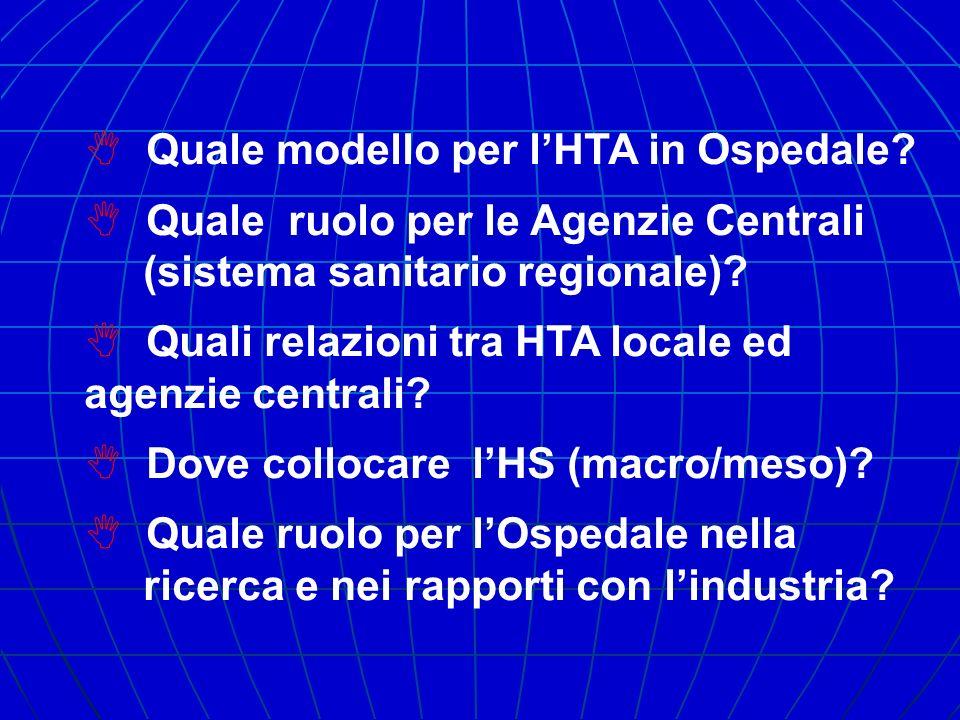 Quale modello per lHTA in Ospedale? Quale ruolo per le Agenzie Centrali (sistema sanitario regionale)? Quali relazioni tra HTA locale ed agenzie centr