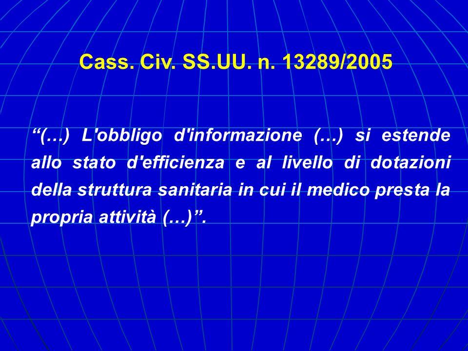 Cass. Civ. SS.UU. n. 13289/2005 (…) L'obbligo d'informazione (…) si estende allo stato d'efficienza e al livello di dotazioni della struttura sanitari