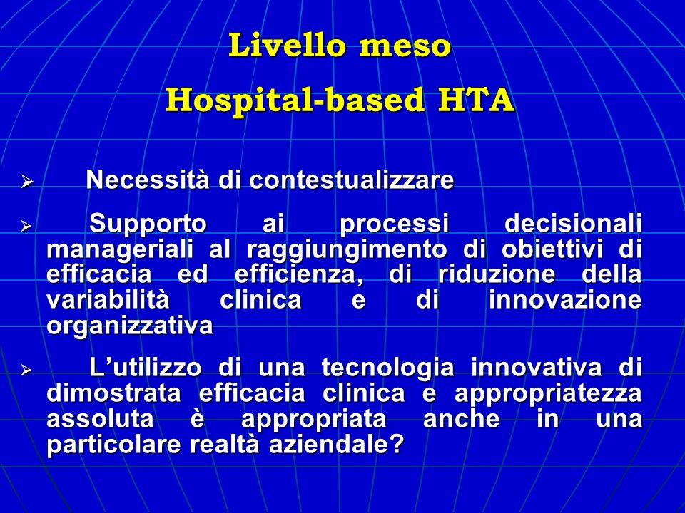 Livello meso Hospital-based HTA Necessità di contestualizzare Necessità di contestualizzare Supporto ai processi decisionali manageriali al raggiungim