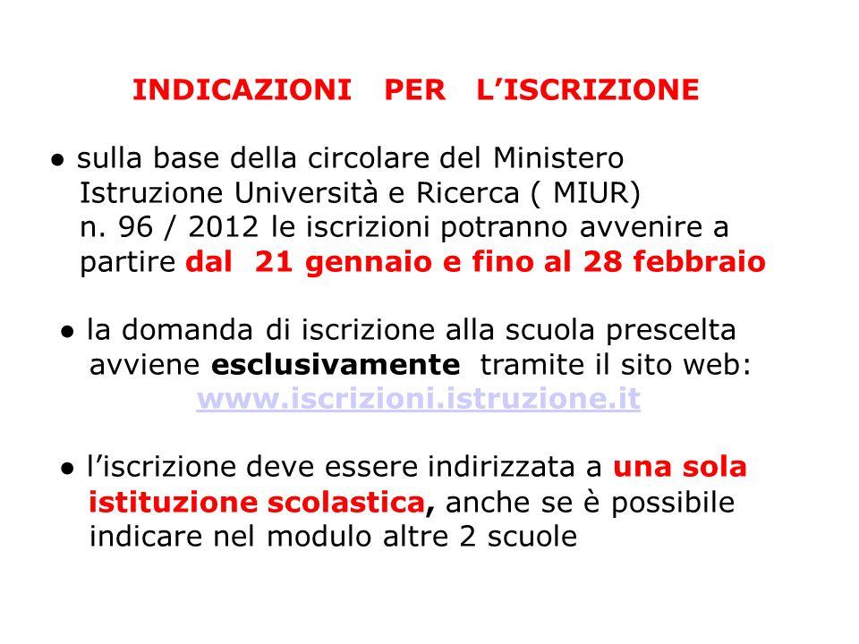 INDICAZIONI PER LISCRIZIONE sulla base della circolare del Ministero Istruzione Università e Ricerca ( MIUR) n. 96 / 2012 le iscrizioni potranno avven