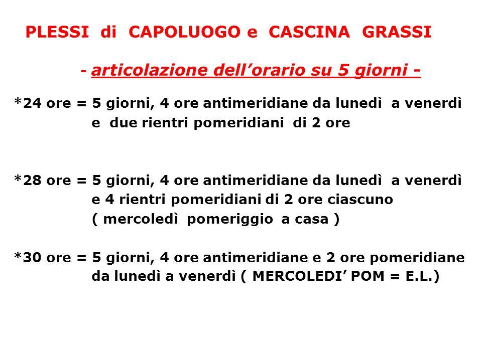 PLESSI di CAPOLUOGO e CASCINA GRASSI - articolazione dellorario su 5 giorni - *24 ore = 5 giorni, 4 ore antimeridiane da lunedì a venerdì e due rientr