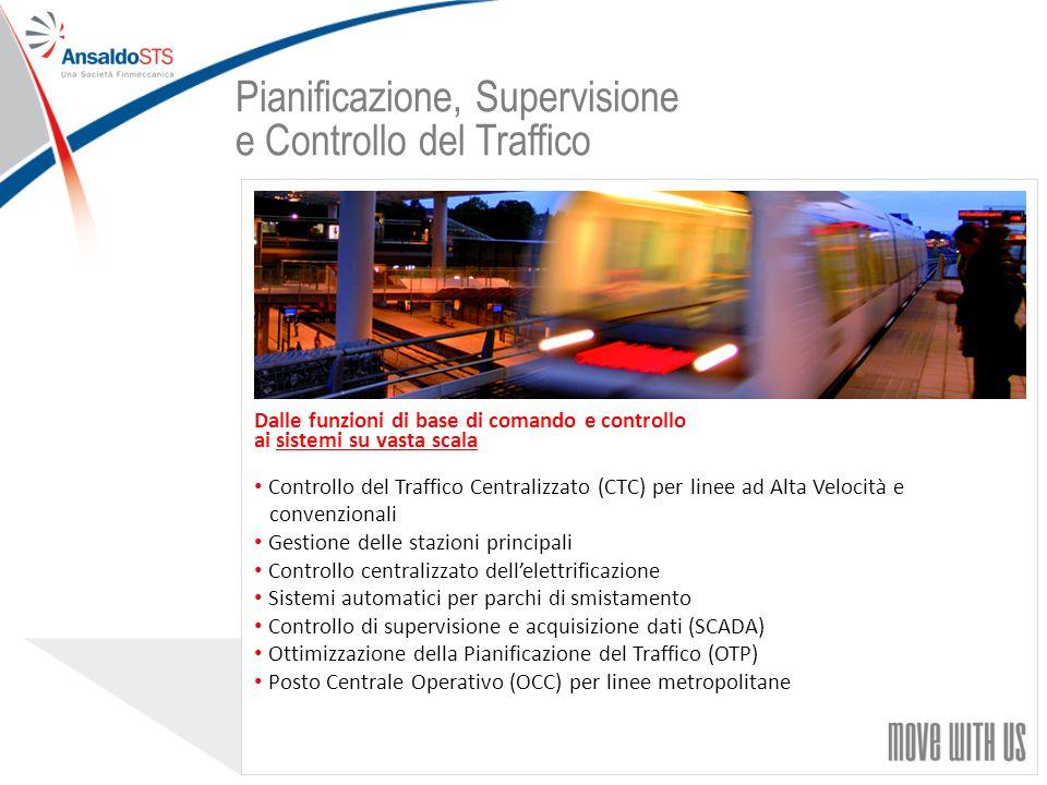 28 Dalle funzioni di base di comando e controllo ai sistemi su vasta scala Controllo del Traffico Centralizzato (CTC) per linee ad Alta Velocità e convenzionali Gestione delle stazioni principali Controllo centralizzato dellelettrificazione Sistemi automatici per parchi di smistamento Controllo di supervisione e acquisizione dati (SCADA) Ottimizzazione della Pianificazione del Traffico (OTP) Posto Centrale Operativo (OCC) per linee metropolitane Pianificazione, Supervisione e Controllo del Traffico