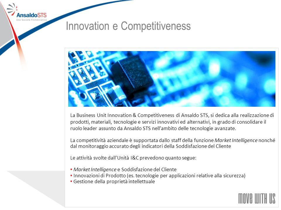 29 La Business Unit Innovation & Competitiveness di Ansaldo STS, si dedica alla realizzazione di prodotti, materiali, tecnologie e servizi innovativi ed alternativi, in grado di consolidare il ruolo leader assunto da Ansaldo STS nellambito delle tecnologie avanzate.