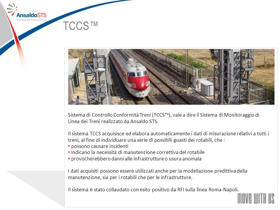 31 Sistema di Controllo Conformità Treni (TCCS), vale a dire il Sistema di Monitoraggio di Linea dei Treni realizzato da Ansaldo STS.