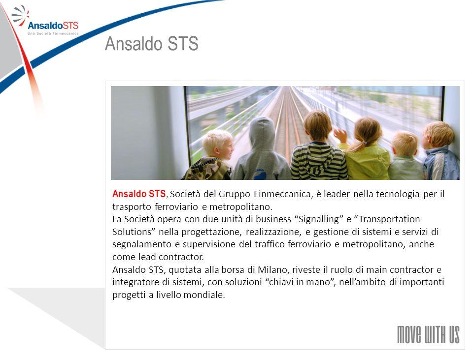 55 Ansaldo STS, Società del Gruppo Finmeccanica, è leader nella tecnologia per il trasporto ferroviario e metropolitano.