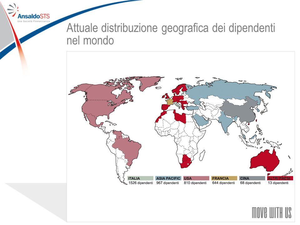 77 Attuale distribuzione geografica dei dipendenti nel mondo