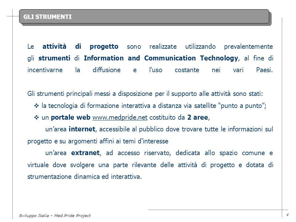 Sviluppo Italia – Med.Pride Project 4 GLI STRUMENTI Le attività di progetto sono realizzate utilizzando prevalentemente gli strumenti di Information and Communication Technology, al fine di incentivarne la diffusione e l uso costante nei vari Paesi.
