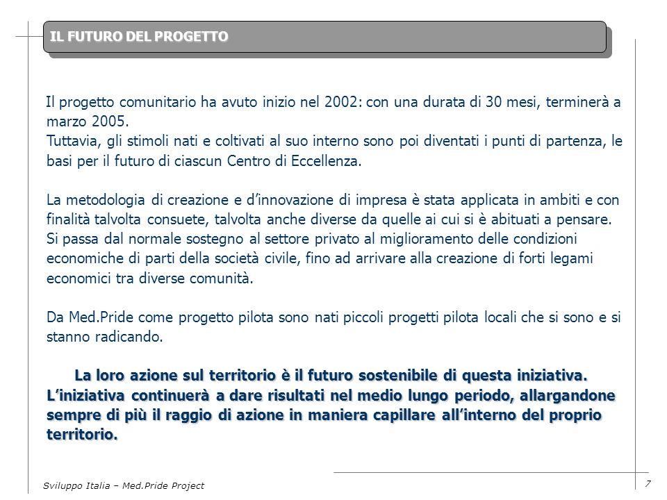 Sviluppo Italia – Med.Pride Project 7 IL FUTURO DEL PROGETTO La loro azione sul territorio è il futuro sostenibile di questa iniziativa.