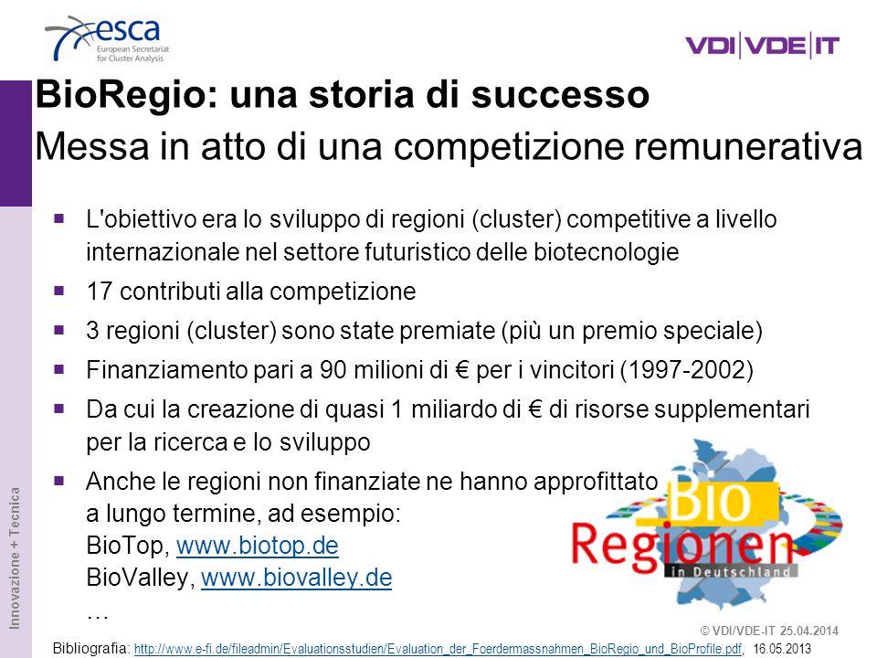 Innovazione + Tecnica BioRegio: una storia di successo Messa in atto di una competizione remunerativa L'obiettivo era lo sviluppo di regioni (cluster)