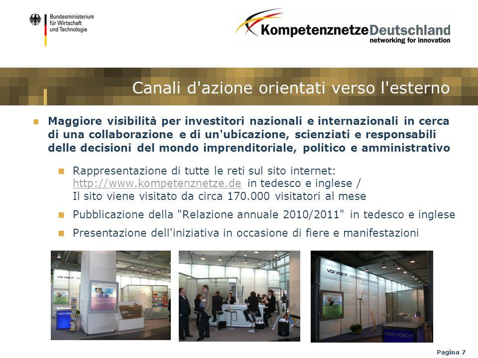 Pagina 7 Canali d'azione orientati verso l'esterno Maggiore visibilità per investitori nazionali e internazionali in cerca di una collaborazione e di