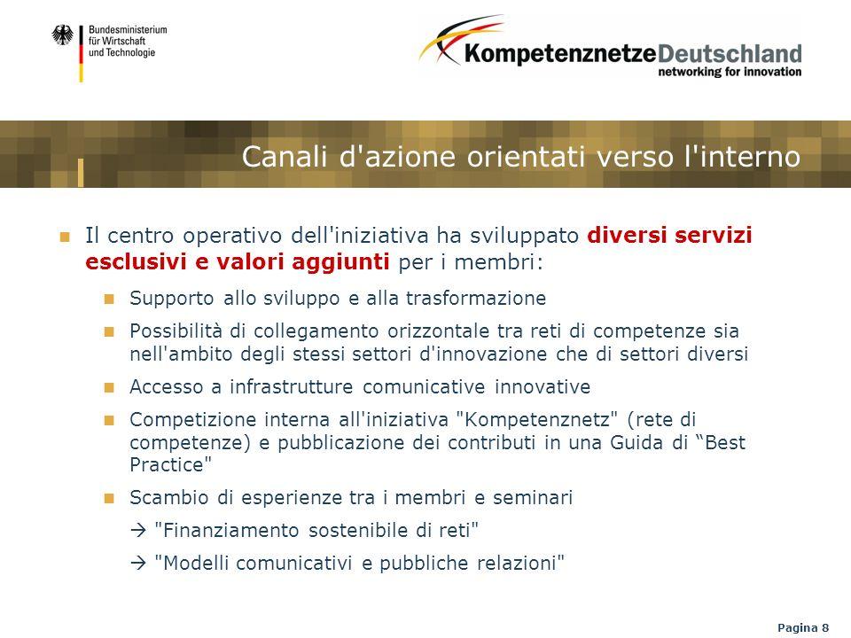 Pagina 8 Canali d'azione orientati verso l'interno Il centro operativo dell'iniziativa ha sviluppato diversi servizi esclusivi e valori aggiunti per i
