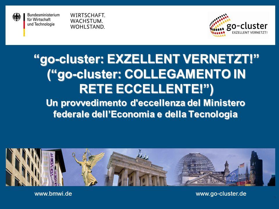 www.bmwi.de go-cluster: EXZELLENT VERNETZT! (go-cluster: COLLEGAMENTO IN RETE ECCELLENTE!) Un provvedimento d'eccellenza del Ministero federale dellEc
