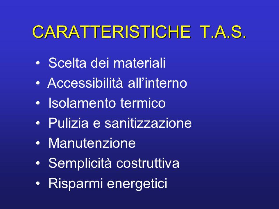 CARATTERISTICHET.A.S. CARATTERISTICHE T.A.S. Scelta dei materiali Accessibilità allinterno Isolamento termico Pulizia e sanitizzazione Manutenzione Se