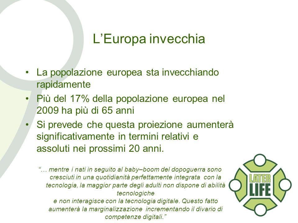 LEuropa invecchia La popolazione europea sta invecchiando rapidamente Più del 17% della popolazione europea nel 2009 ha più di 65 anni Si prevede che questa proiezione aumenterà significativamente in termini relativi e assoluti nei prossimi 20 anni.