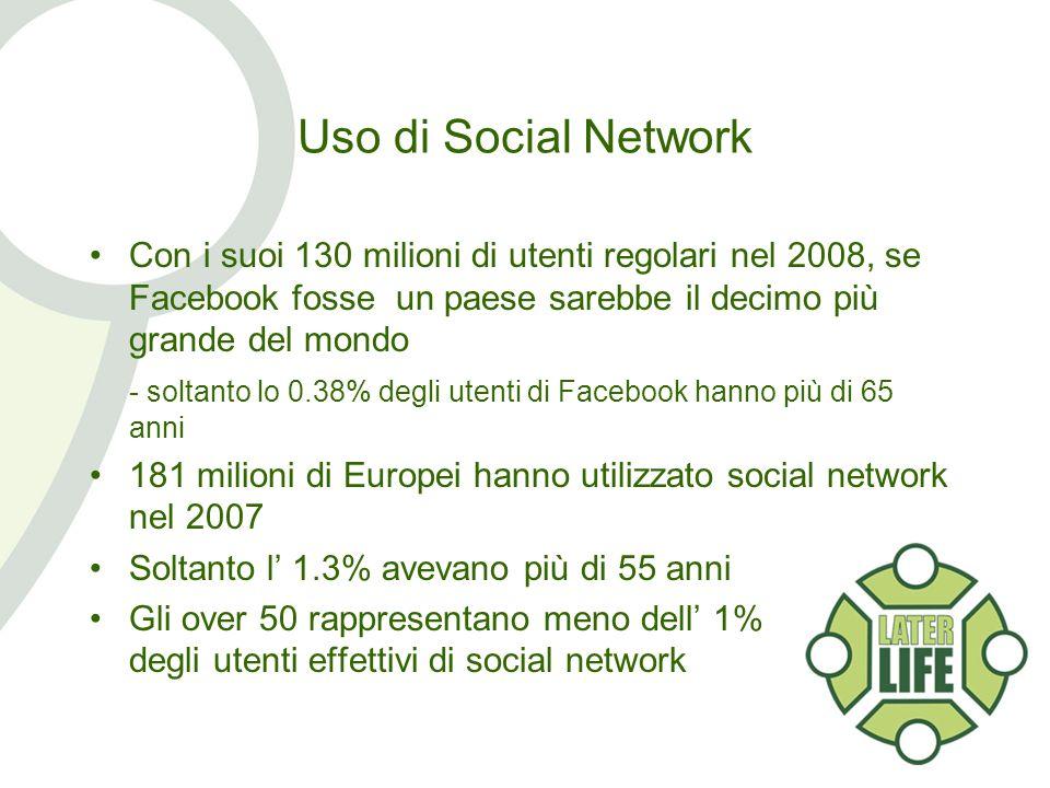 Uso di Social Network Con i suoi 130 milioni di utenti regolari nel 2008, se Facebook fosse un paese sarebbe il decimo più grande del mondo - soltanto lo 0.38% degli utenti di Facebook hanno più di 65 anni 181 milioni di Europei hanno utilizzato social network nel 2007 Soltanto l 1.3% avevano più di 55 anni Gli over 50 rappresentano meno dell 1% degli utenti effettivi di social network