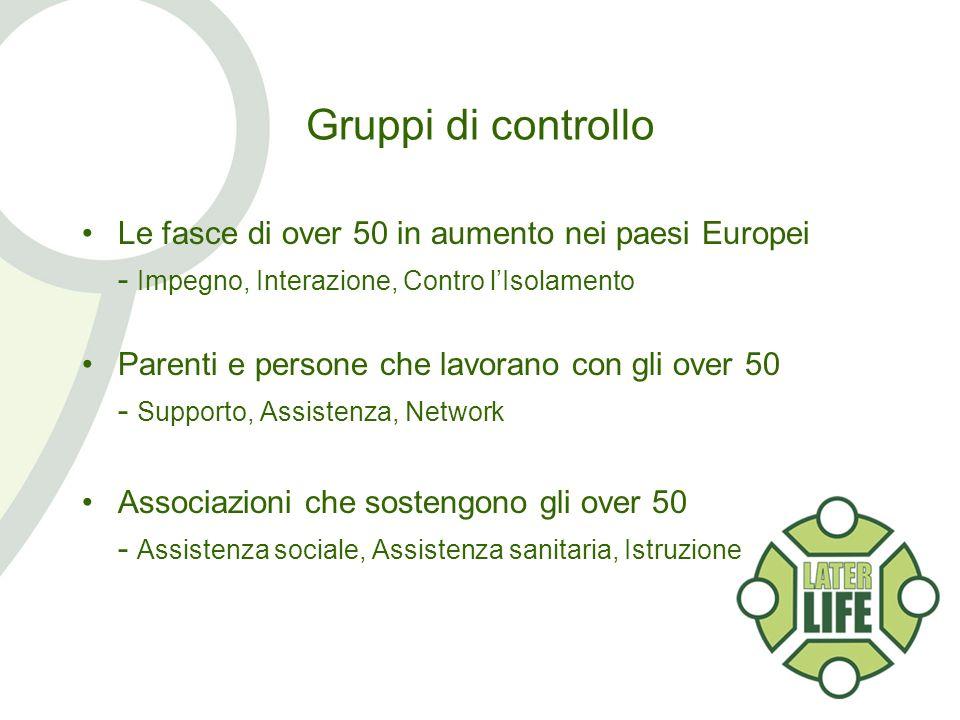 Gruppi di controllo Le fasce di over 50 in aumento nei paesi Europei - Impegno, Interazione, Contro lIsolamento Parenti e persone che lavorano con gli over 50 - Supporto, Assistenza, Network Associazioni che sostengono gli over 50 - Assistenza sociale, Assistenza sanitaria, Istruzione
