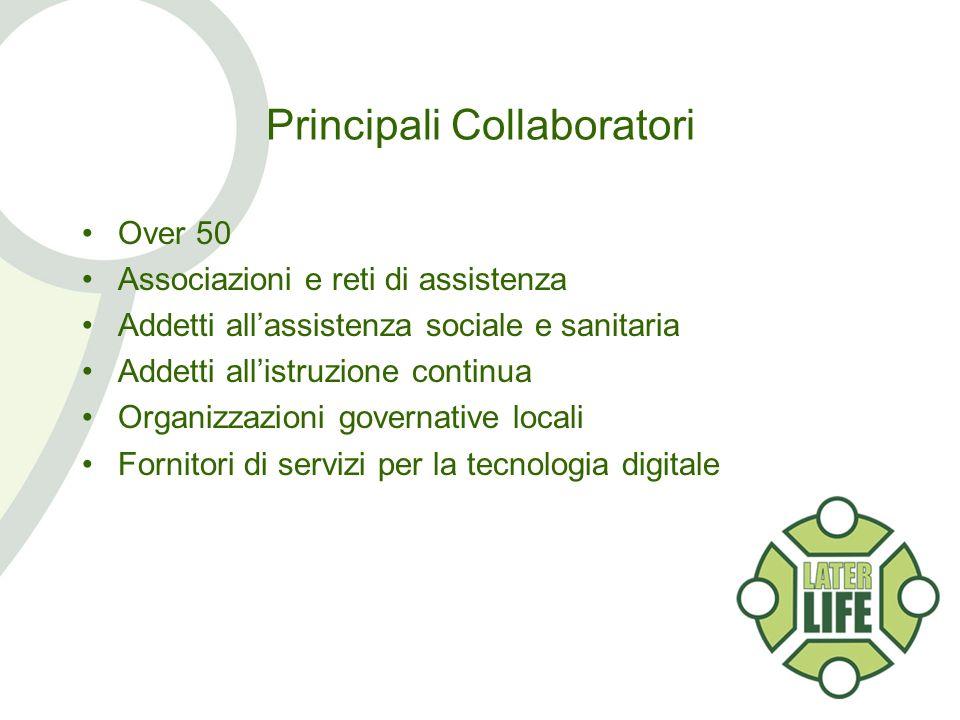 Principali Collaboratori Over 50 Associazioni e reti di assistenza Addetti allassistenza sociale e sanitaria Addetti allistruzione continua Organizzazioni governative locali Fornitori di servizi per la tecnologia digitale