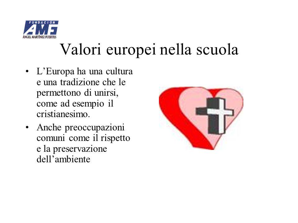 Valori europei nella scuola LEuropa ha una cultura e una tradizione che le permettono di unirsi, come ad esempio il cristianesimo. Anche preoccupazion