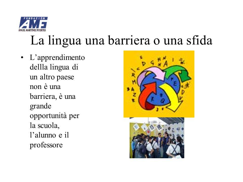 La lingua una barriera o una sfida Lapprendimento dellla lingua di un altro paese non è una barriera, è una grande opportunità per la scuola, lalunno e il professore