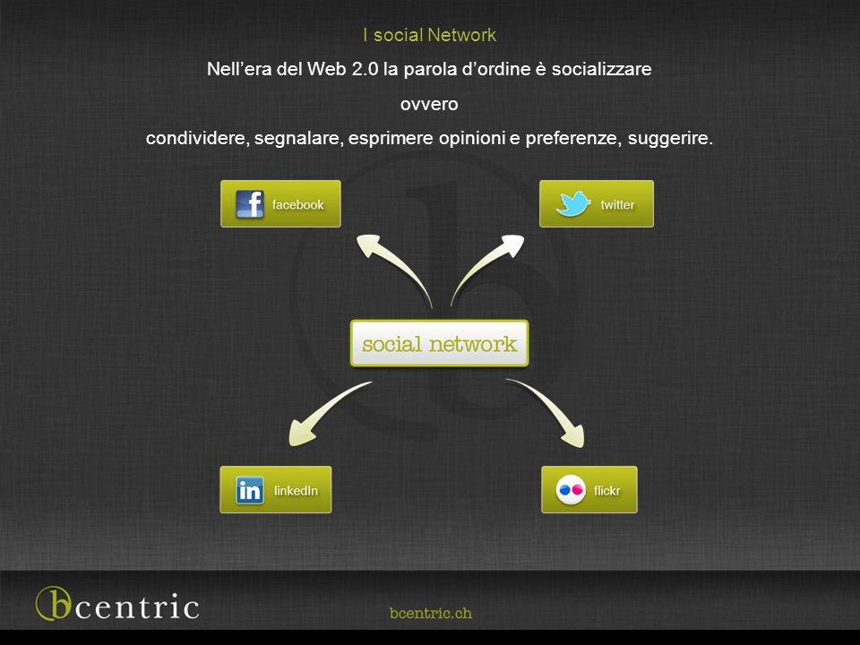 I social Network Nellera del Web 2.0 la parola dordine è socializzare ovvero condividere, segnalare, esprimere opinioni e preferenze, suggerire.