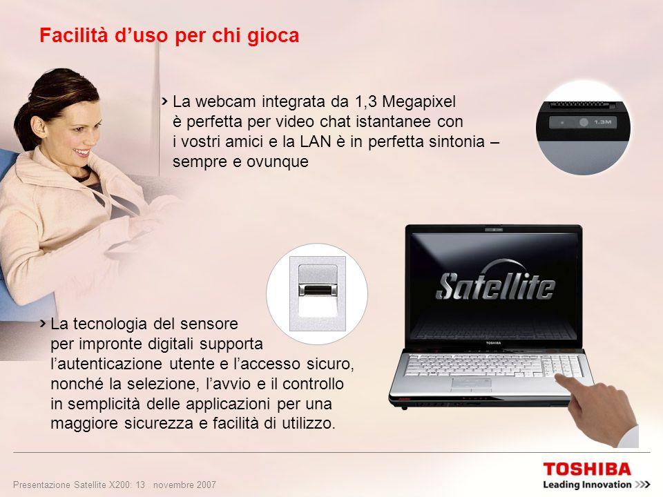 Presentazione Satellite X200: 12 novembre 2007 Grafica potente per gli appassionati di giochi NVIDIA ® SLI dual GeForce ® 8600M GT con supporto della