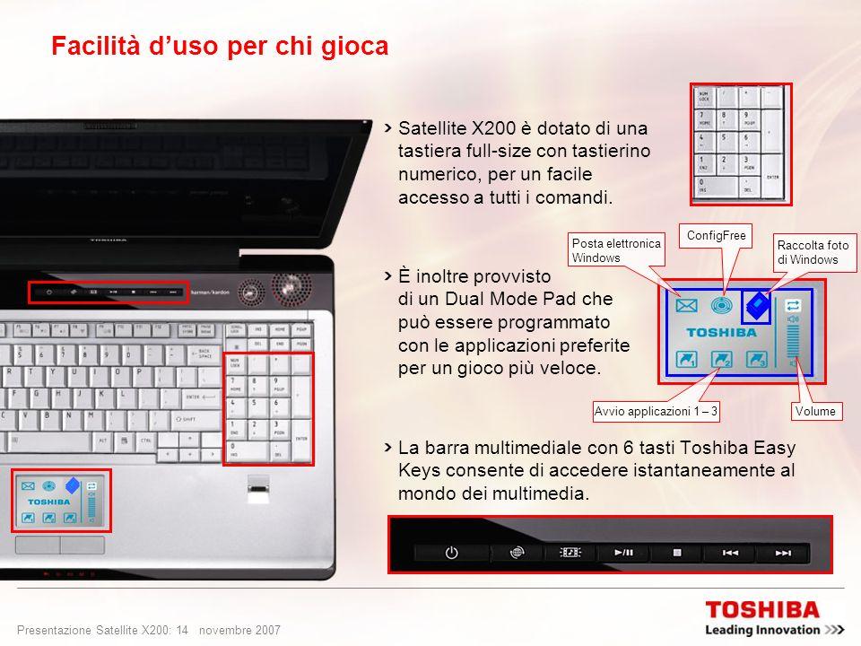 Presentazione Satellite X200: 13 novembre 2007 Facilità duso per chi gioca La webcam integrata da 1,3 Megapixel è perfetta per video chat istantanee c